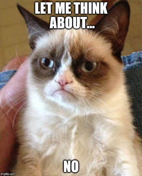 Grumpy Cat Meme | LET ME THINK ABOUT... NO | image tagged in memes,grumpy cat | made w/ Imgflip meme maker