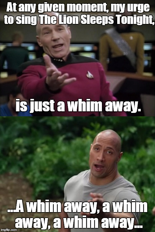 Too late for dumb meme weekend. Oh well. Hope you like it anyway.  | At any given moment, my urge to sing The Lion Sleeps Tonight, ...A whim away, a whim away, a whim away... is just a whim away. | image tagged in picard and rock | made w/ Imgflip meme maker