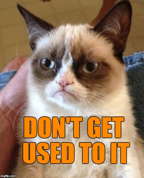 Grumpy Cat Meme | DON'T GET USED TO IT | image tagged in memes,grumpy cat | made w/ Imgflip meme maker