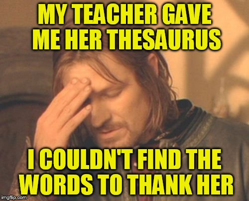 Frustrated Boromir |  MY TEACHER GAVE ME HER THESAURUS; I COULDN'T FIND THE WORDS TO THANK HER | image tagged in memes,frustrated boromir | made w/ Imgflip meme maker
