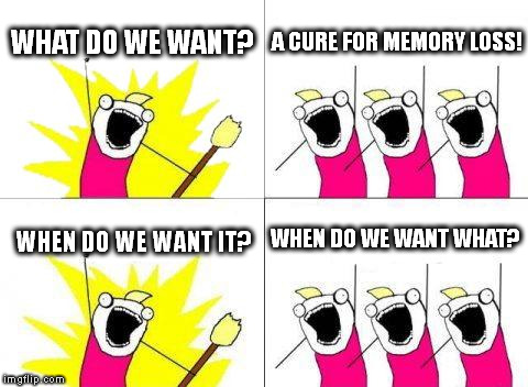 This looks somewhat offensive, but I don't mean it to. | WHAT DO WE WANT? A CURE FOR MEMORY LOSS! WHEN DO WE WANT IT? WHEN DO WE WANT WHAT? | image tagged in memes,what do we want,bad memory,not offensive | made w/ Imgflip meme maker