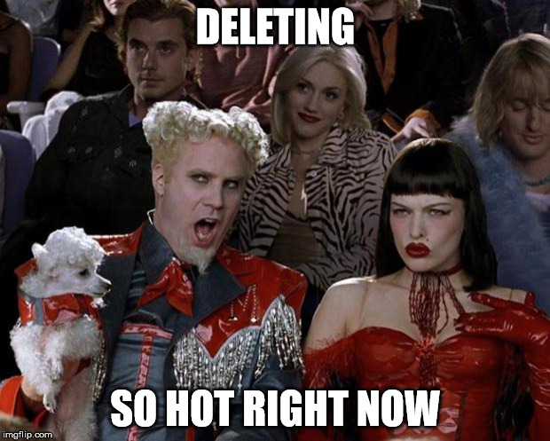 Mugatu So Hot Right Now Meme | DELETING SO HOT RIGHT NOW | image tagged in memes,mugatu so hot right now | made w/ Imgflip meme maker