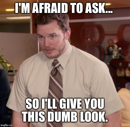 Afraid To Ask Andy Meme |  I'M AFRAID TO ASK... SO I'LL GIVE YOU THIS DUMB LOOK. | image tagged in memes,afraid to ask andy | made w/ Imgflip meme maker
