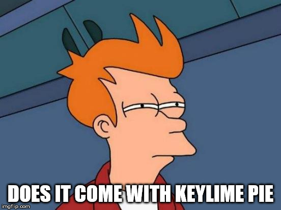Futurama Fry Meme | DOES IT COME WITH KEYLIME PIE | image tagged in memes,futurama fry | made w/ Imgflip meme maker