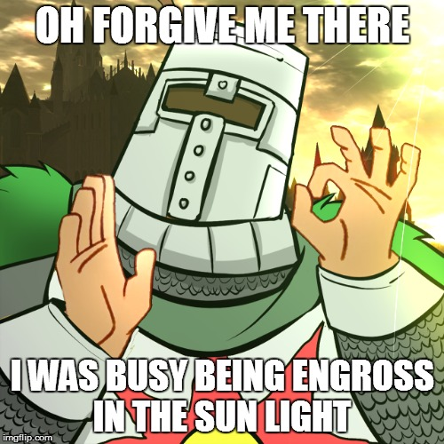 OH FORGIVE ME THERE I WAS BUSY BEING ENGROSS IN THE SUN LIGHT | made w/ Imgflip meme maker