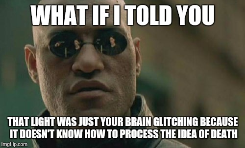 Matrix Morpheus Meme | WHAT IF I TOLD YOU THAT LIGHT WAS JUST YOUR BRAIN GLITCHING BECAUSE IT DOESN'T KNOW HOW TO PROCESS THE IDEA OF DEATH | image tagged in memes,matrix morpheus | made w/ Imgflip meme maker