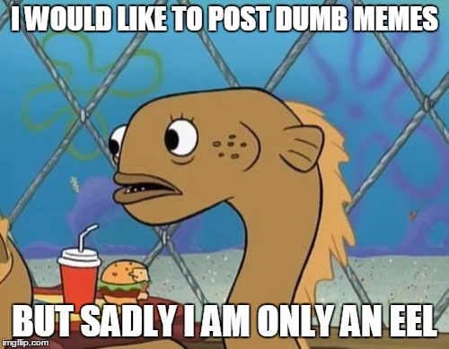 Sadly I Am Only An Eel | I WOULD LIKE TO POST DUMB MEMES BUT SADLY I AM ONLY AN EEL | image tagged in memes,sadly i am only an eel | made w/ Imgflip meme maker