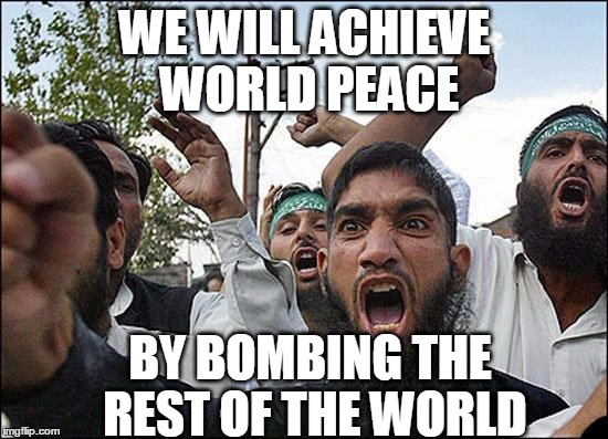 Muslim rage boy | WE WILL ACHIEVE WORLD PEACE BY BOMBING THE REST OF THE WORLD | image tagged in muslim rage boy | made w/ Imgflip meme maker