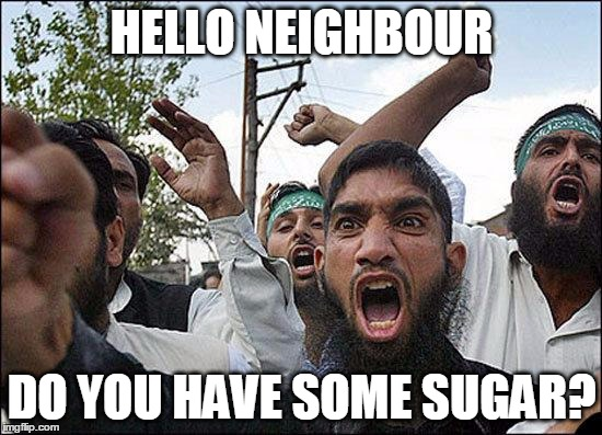 Muslim rage boy | HELLO NEIGHBOUR DO YOU HAVE SOME SUGAR? | image tagged in muslim rage boy | made w/ Imgflip meme maker