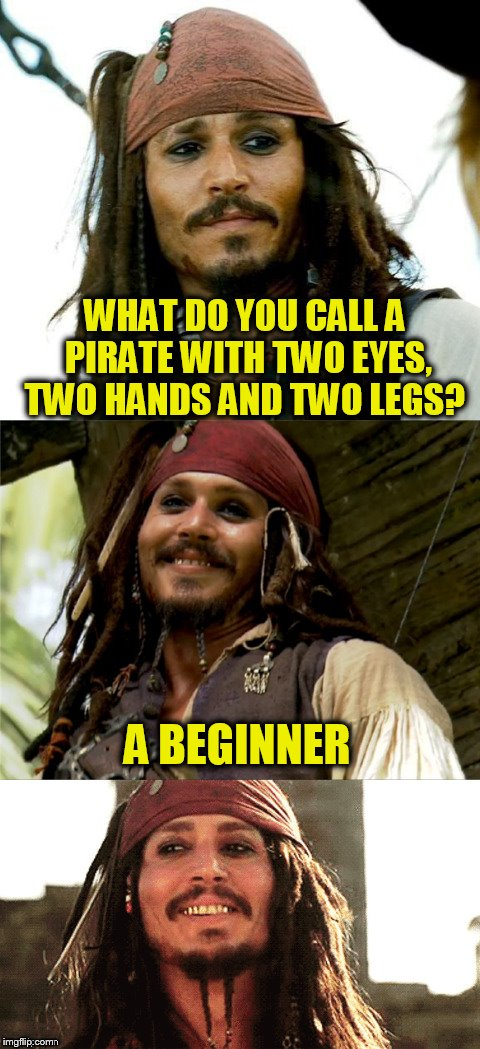 Because hokeewolf said to! :) | WHAT DO YOU CALL A PIRATE WITH TWO EYES, TWO HANDS AND TWO LEGS? A BEGINNER | image tagged in jack puns,johnny depp,pirate,jokes,funny meme,laughs | made w/ Imgflip meme maker