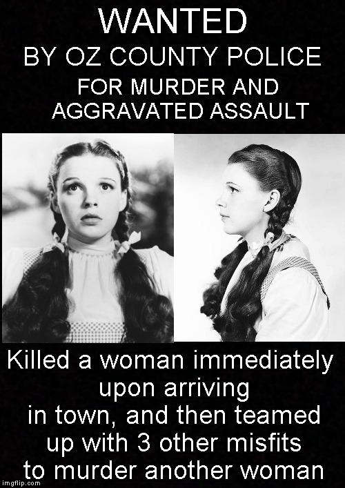 Be On The Lookout.... | WANTED Killed a woman immediately upon arriving in town, and then teamed up with 3 other misfits to murder another woman BY OZ COUNTY POLICE | image tagged in funny memes,wizard of oz,dorothy,murder,wanted,memes | made w/ Imgflip meme maker