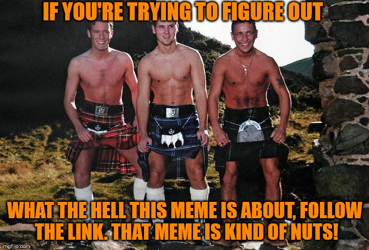 Scottish Kilt Guys | IF YOU'RE TRYING TO FIGURE OUT WHAT THE HELL THIS MEME IS ABOUT, FOLLOW THE LINK. THAT MEME IS KIND OF NUTS! | image tagged in scottish kilt guys | made w/ Imgflip meme maker