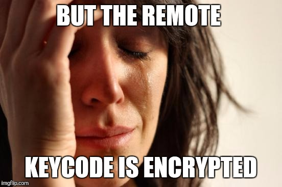 First World Problems Meme | BUT THE REMOTE KEYCODE IS ENCRYPTED | image tagged in memes,first world problems | made w/ Imgflip meme maker