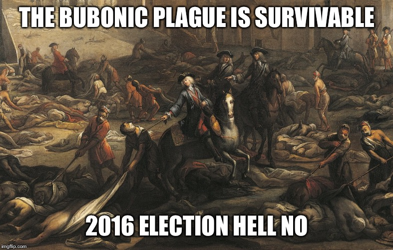 We're going to need a lot of antibiotics | THE BUBONIC PLAGUE IS SURVIVABLE 2016 ELECTION HELL NO | image tagged in bubonic plague,election 2016,2016 election,death,hell | made w/ Imgflip meme maker