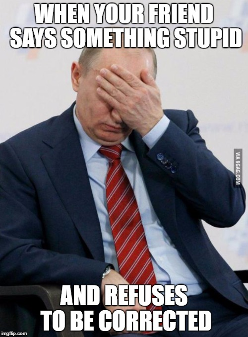 Dumb friend | WHEN YOUR FRIEND SAYS SOMETHING STUPID AND REFUSES TO BE CORRECTED | image tagged in putin facepalm,stupid | made w/ Imgflip meme maker