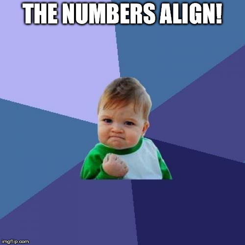 Success Kid Meme | THE NUMBERS ALIGN! | image tagged in memes,success kid | made w/ Imgflip meme maker