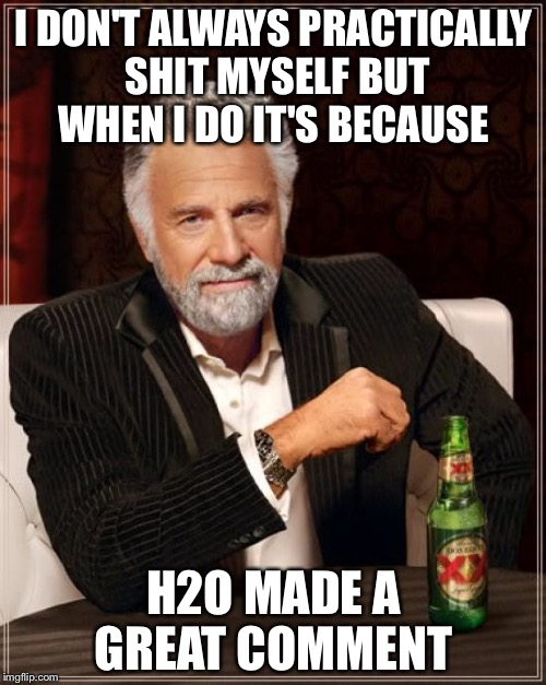 The Most Interesting Man In The World Meme | I DON'T ALWAYS PRACTICALLY SHIT MYSELF BUT WHEN I DO IT'S BECAUSE H2O MADE A GREAT COMMENT | image tagged in memes,the most interesting man in the world | made w/ Imgflip meme maker
