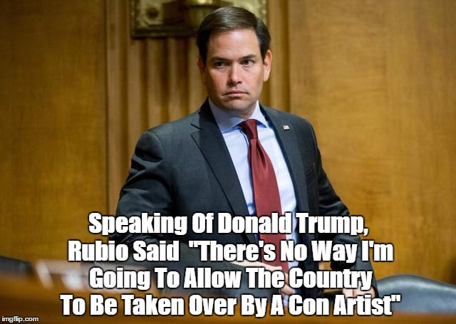 "Speaking Of Donald Trump, Rubio Said  ""There's No Way I'm Going To Allow The Country To Be Taken Over By A Con Artist"" 