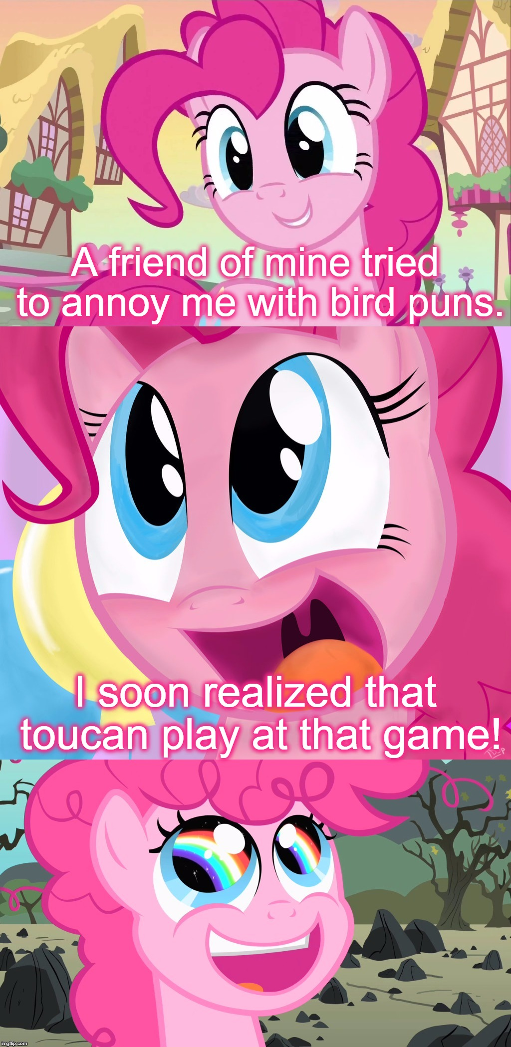 Bad Pun Pinkie Pie, If You Want To Know Who She Talking About It's Cheese Sandwich.  | A friend of mine tried to annoy me with bird puns. I soon realized that toucan play at that game! | image tagged in bad pun pinkie pie,memes,pinkie pie,mlp,my little pony,bad pun | made w/ Imgflip meme maker