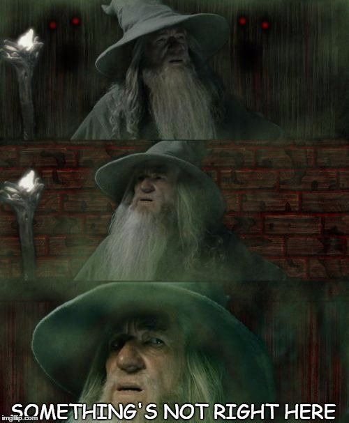 Gandalf Lost Lord of the Rings | SOMETHING'S NOT RIGHT HERE | image tagged in gandalf lost lord of the rings | made w/ Imgflip meme maker