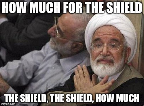 HOW MUCH FOR THE SHIELD THE SHIELD, THE SHIELD, HOW MUCH | made w/ Imgflip meme maker