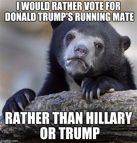 Confession Bear Meme | I WOULD RATHER VOTE FOR DONALD TRUMP'S RUNNING MATE RATHER THAN HILLARY OR TRUMP | image tagged in memes,confession bear | made w/ Imgflip meme maker