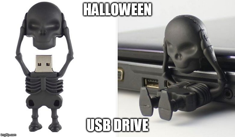 For the well-costumed nerd in your life | HALLOWEEN USB DRIVE | image tagged in halloween,usb | made w/ Imgflip meme maker