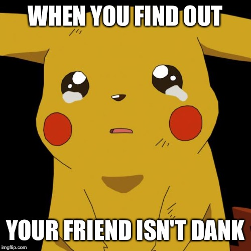 Pikachu crying | WHEN YOU FIND OUT YOUR FRIEND ISN'T DANK | image tagged in pikachu crying | made w/ Imgflip meme maker