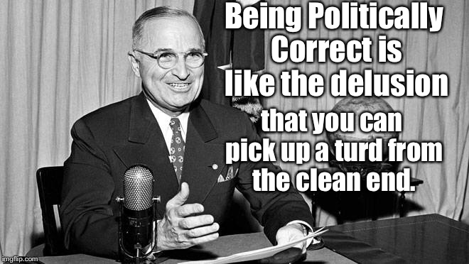 Being Politically Correct is like the delusion that you can pick up a turd from the clean end. | made w/ Imgflip meme maker