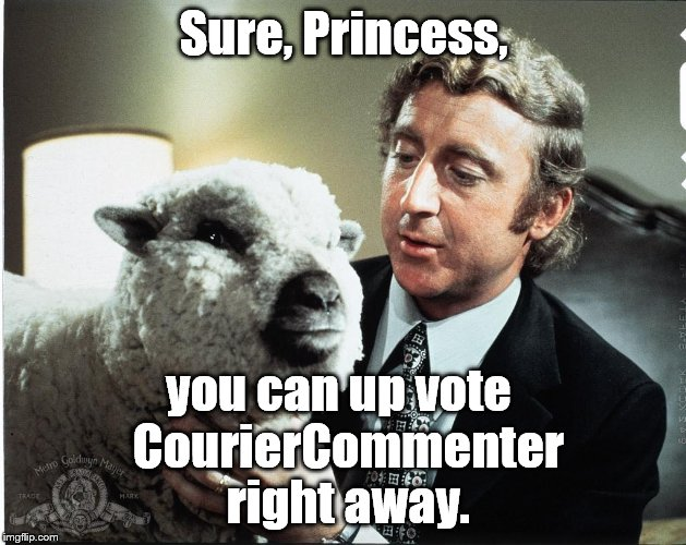 Baaa | Sure, Princess, you can up vote  CourierCommenter right away. | image tagged in baaa | made w/ Imgflip meme maker