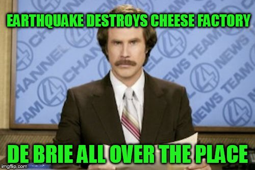 Ron Burgundy Meme | EARTHQUAKE DESTROYS CHEESE FACTORY DE BRIE ALL OVER THE PLACE | image tagged in memes,ron burgundy | made w/ Imgflip meme maker