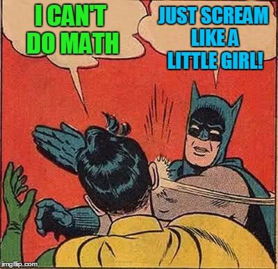 Batman Slapping Robin Meme | I CAN'T DO MATH JUST SCREAM LIKE A LITTLE GIRL! | image tagged in memes,batman slapping robin | made w/ Imgflip meme maker