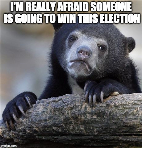 Is it 2024 yet? | I'M REALLY AFRAID SOMEONE IS GOING TO WIN THIS ELECTION | image tagged in memes,confession bear,hillary clinton,jill stein,bacon,justkiddingtrump2016 | made w/ Imgflip meme maker