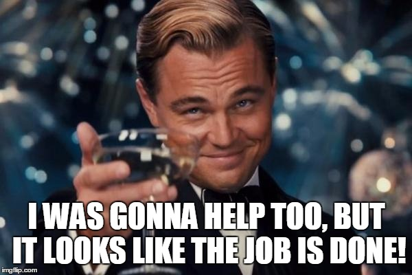 Leonardo Dicaprio Cheers Meme | I WAS GONNA HELP TOO, BUT IT LOOKS LIKE THE JOB IS DONE! | image tagged in memes,leonardo dicaprio cheers | made w/ Imgflip meme maker
