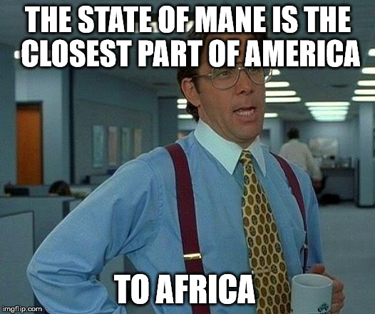 That Would Be Great Meme | THE STATE OF MANE IS THE CLOSEST PART OF AMERICA TO AFRICA | image tagged in memes,that would be great | made w/ Imgflip meme maker