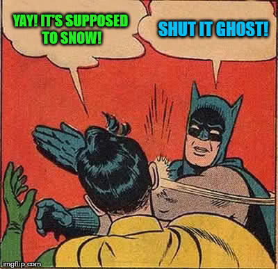 Batman Slapping Robin Meme | YAY! IT'S SUPPOSED TO SNOW! SHUT IT GHOST! | image tagged in memes,batman slapping robin | made w/ Imgflip meme maker