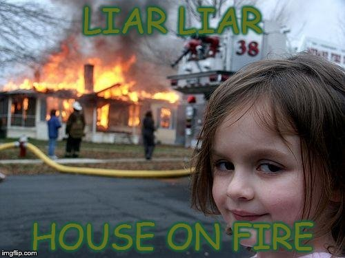 Disaster Girl | LIAR LIAR HOUSE ON FIRE | image tagged in memes,disaster girl | made w/ Imgflip meme maker