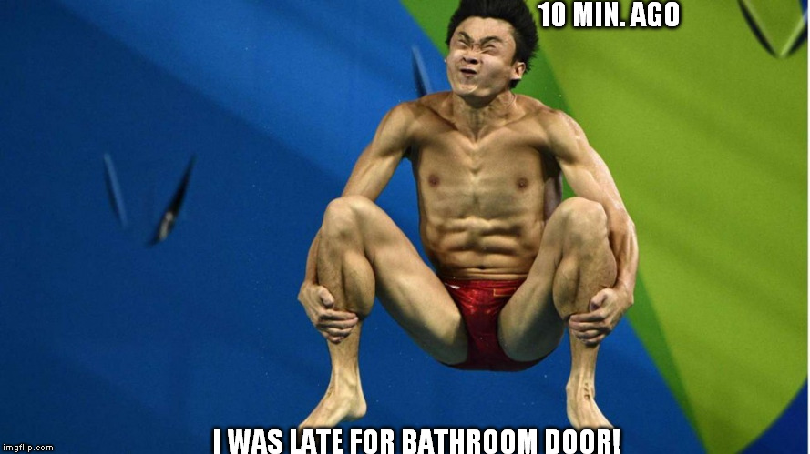 10 MIN. AGO I WAS LATE FOR BATHROOM DOOR! | made w/ Imgflip meme maker