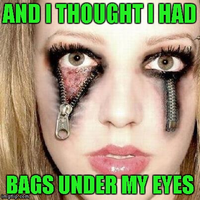 That is some really cool Halloween makeup! | AND I THOUGHT I HAD BAGS UNDER MY EYES | image tagged in zipper eyes,memes,bags under your eyes,funny,halloween makeup | made w/ Imgflip meme maker