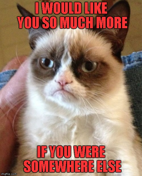 It would not surprise me if this has been done before... | I WOULD LIKE YOU SO MUCH MORE IF YOU WERE SOMEWHERE ELSE | image tagged in memes,grumpy cat | made w/ Imgflip meme maker