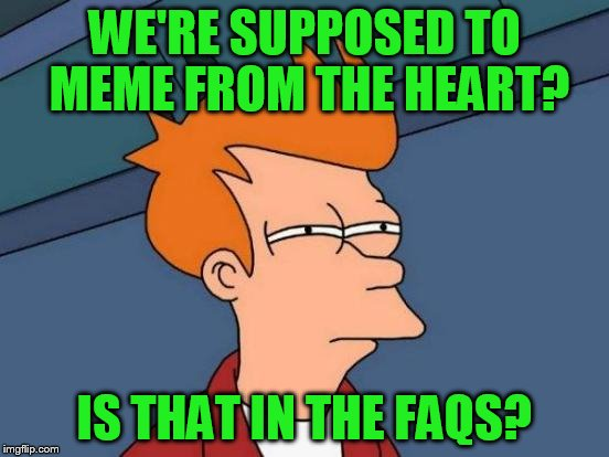 Futurama Fry Meme | WE'RE SUPPOSED TO MEME FROM THE HEART? IS THAT IN THE FAQS? | image tagged in memes,futurama fry | made w/ Imgflip meme maker