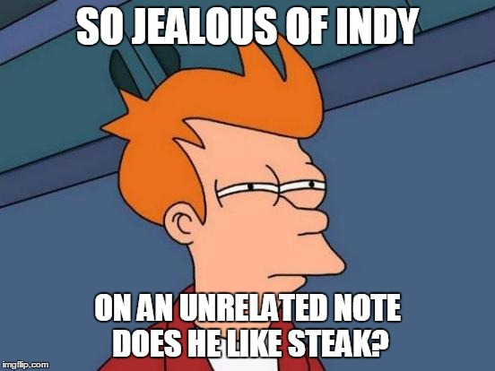 Futurama Fry Meme | SO JEALOUS OF INDY ON AN UNRELATED NOTE DOES HE LIKE STEAK? | image tagged in memes,futurama fry | made w/ Imgflip meme maker