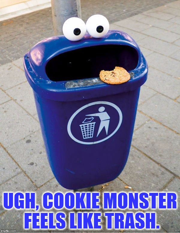 Those Cookie Hangovers Can Really Take A Toll On Your Body | UGH, COOKIE MONSTER FEELS LIKE TRASH. | image tagged in memes,funny,cookie monster,trash,cookies,hangover | made w/ Imgflip meme maker