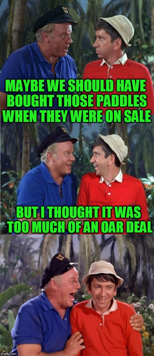 Gilligan Bad Pun | MAYBE WE SHOULD HAVE BOUGHT THOSE PADDLES WHEN THEY WERE ON SALE BUT I THOUGHT IT WAS TOO MUCH OF AN OAR DEAL | image tagged in gilligan bad pun | made w/ Imgflip meme maker