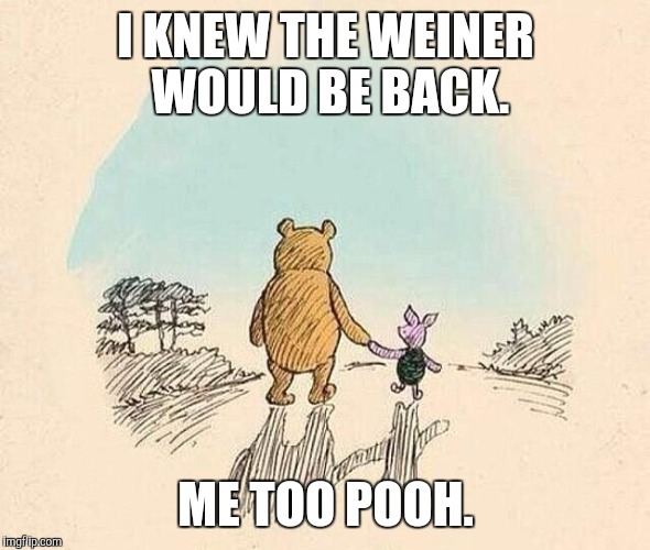 Pooh and Piglet |  I KNEW THE WEINER WOULD BE BACK. ME TOO POOH. | image tagged in pooh and piglet | made w/ Imgflip meme maker