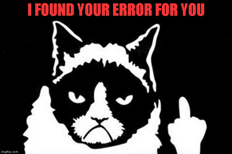 Grumpy Cat Flipping Bird | I FOUND YOUR ERROR FOR YOU | image tagged in grumpy cat flipping bird | made w/ Imgflip meme maker