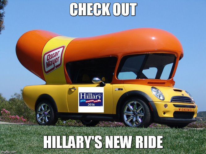 Hillary's new ride | CHECK OUT HILLARY'S NEW RIDE | image tagged in hillary clinton 2016 | made w/ Imgflip meme maker
