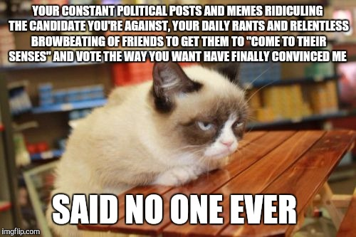 Grumpy Cat Table | YOUR CONSTANT POLITICAL POSTS AND MEMES RIDICULING THE CANDIDATE YOU'RE AGAINST, YOUR DAILY RANTS AND RELENTLESS BROWBEATING OF FRIENDS TO G | image tagged in memes,grumpy cat table | made w/ Imgflip meme maker