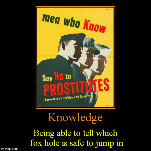 Knowledge | Being able to tell which fox hole is safe to jump in | image tagged in funny,demotivationals | made w/ Imgflip demotivational maker