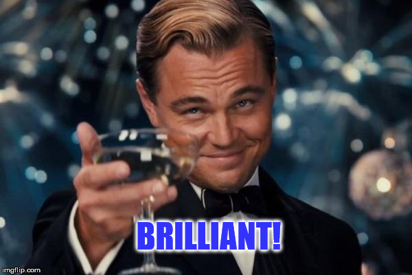 Leonardo Dicaprio Cheers | BRILLIANT! | image tagged in memes,leonardo dicaprio cheers | made w/ Imgflip meme maker